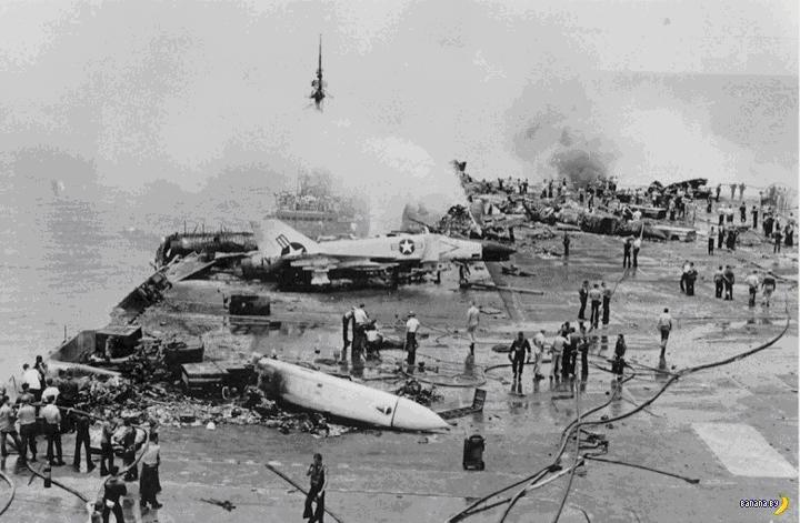 Взлетная палуба авианосца после трагедии