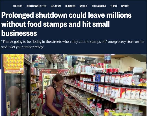 США: Затянувшийся «шатдаун» может стать причиной голода и погромов уже в феврале.