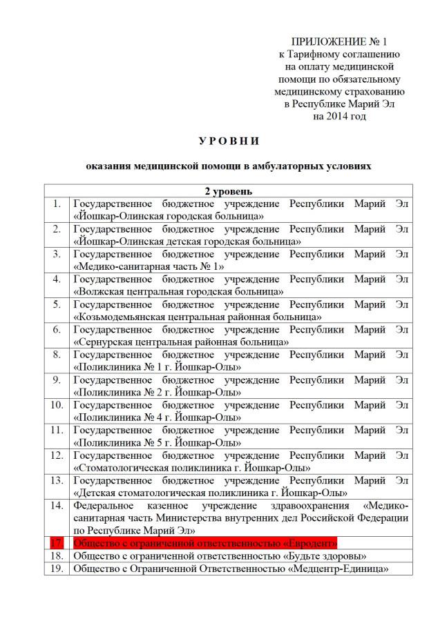 Приложение № 1 к Тарифному соглашению на 2014 год