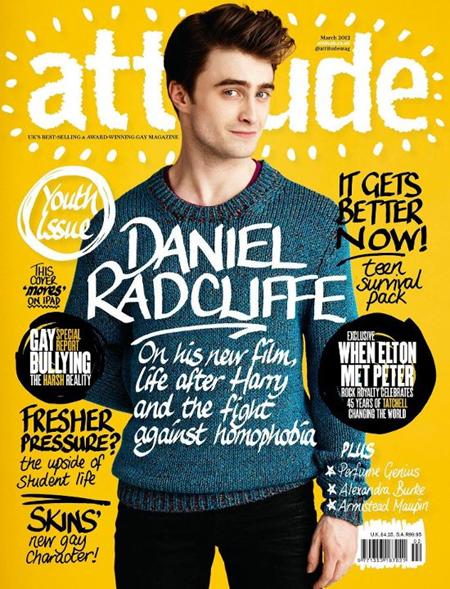 Дэниел Рэдклифф на обложке журнала Attitude, март 2012