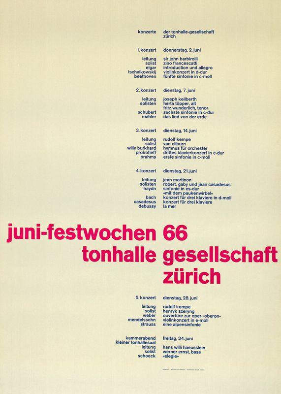 Плакат Juni-Festwochen. Йозеф Мюллер-Брокманн, 1966