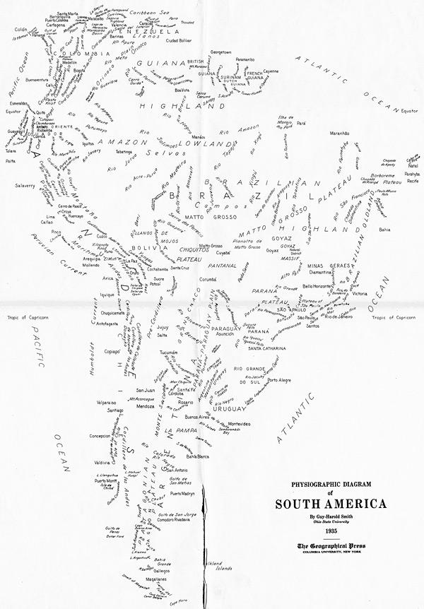 Текстовая карта Южной Америки, 1935