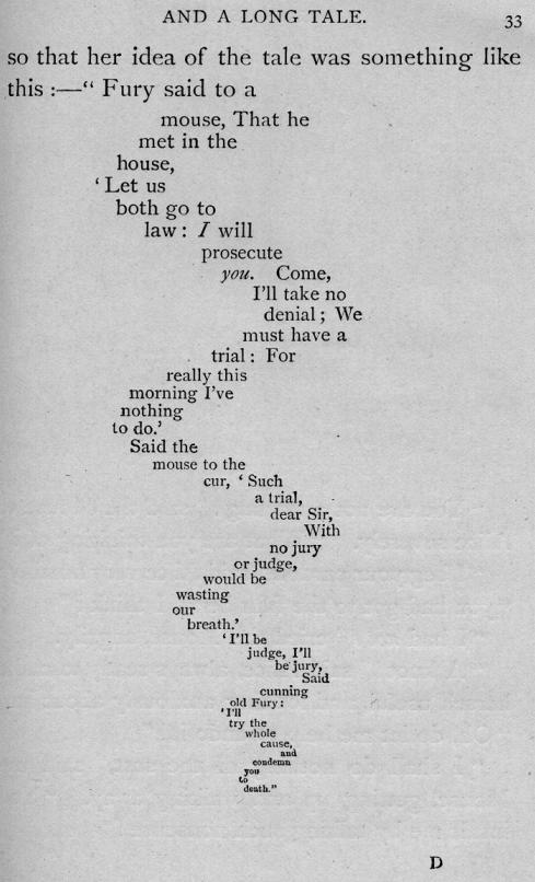 Стихотворение из «Алисы в стране чудес», набранное в форме мышиного хвоста