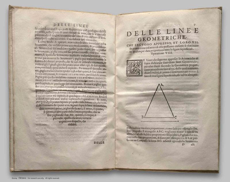 Разворот книги Галилео Галилея Le Operazioni del Compasso Geometrico et Militare. Венеция, 1606