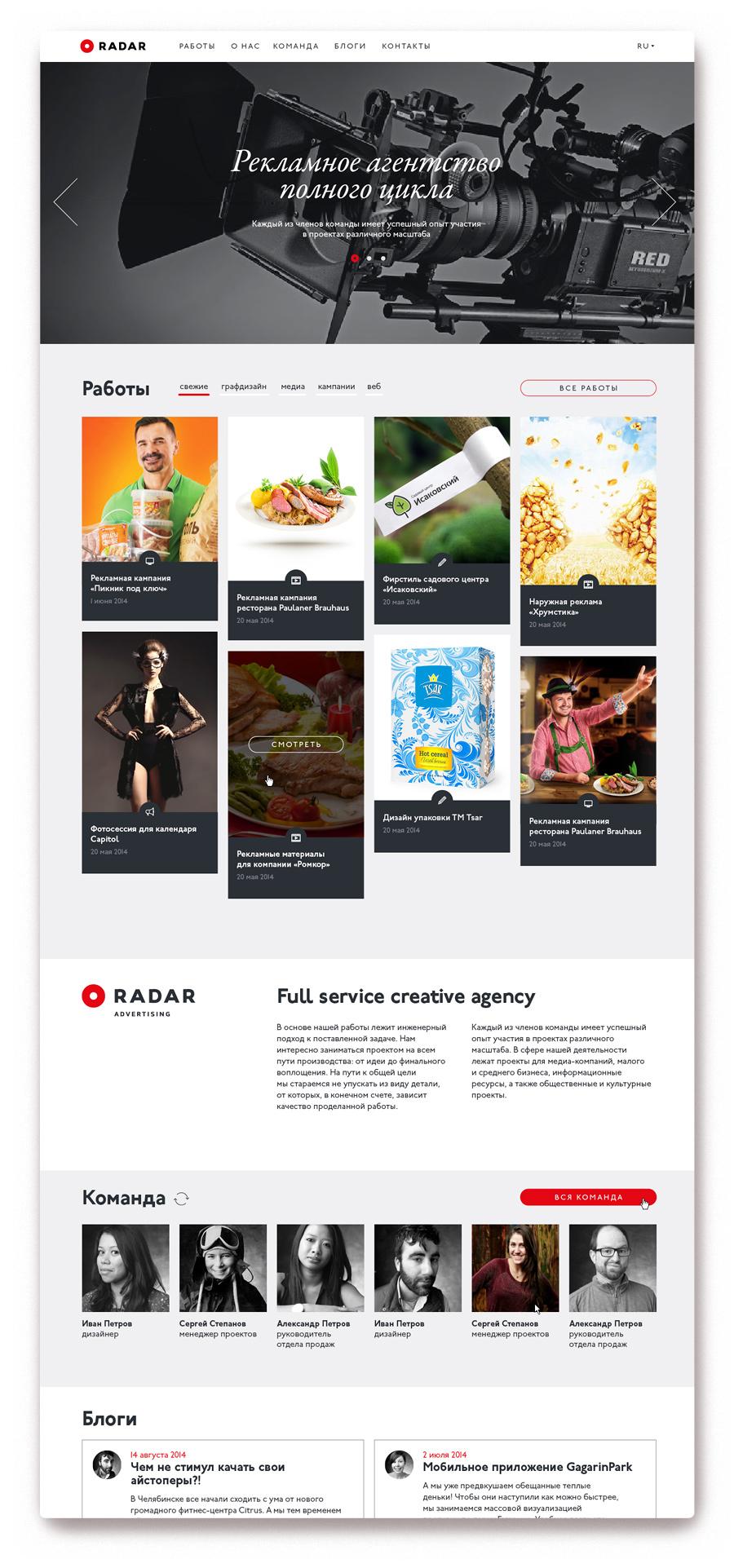 Шаблоны сайта «Радара»