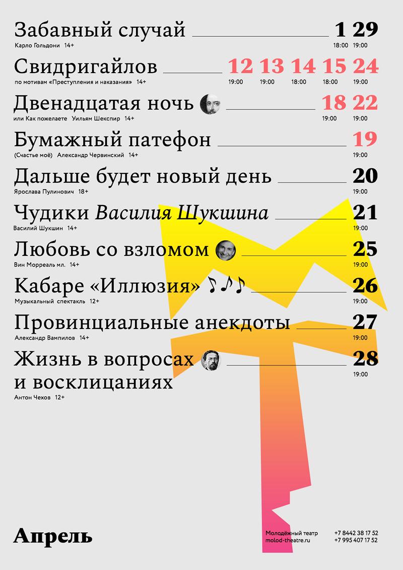 Афиша Молодежного театра, Волгоград