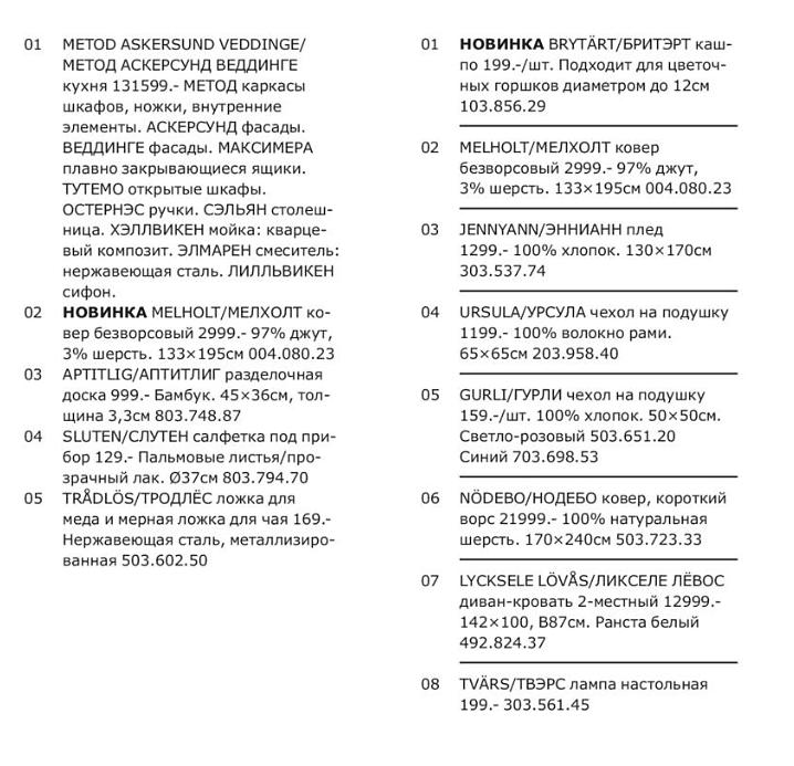 Списки в каталоге Икеи
