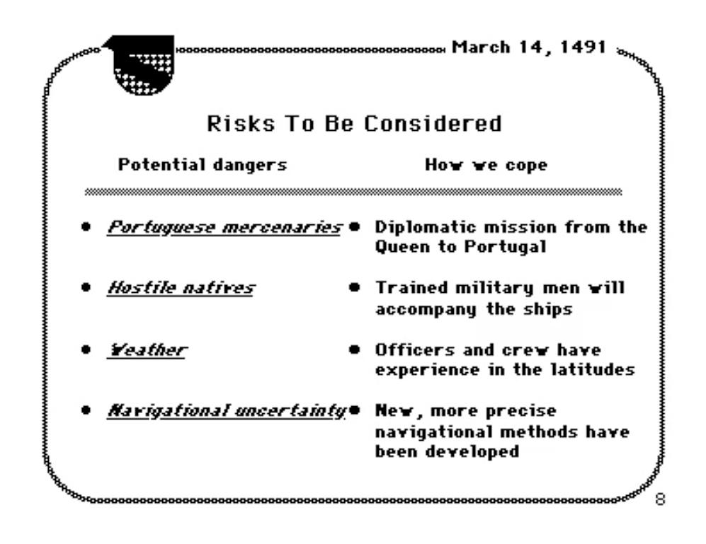 Слайд первой презентации Поверпоинта, 1987