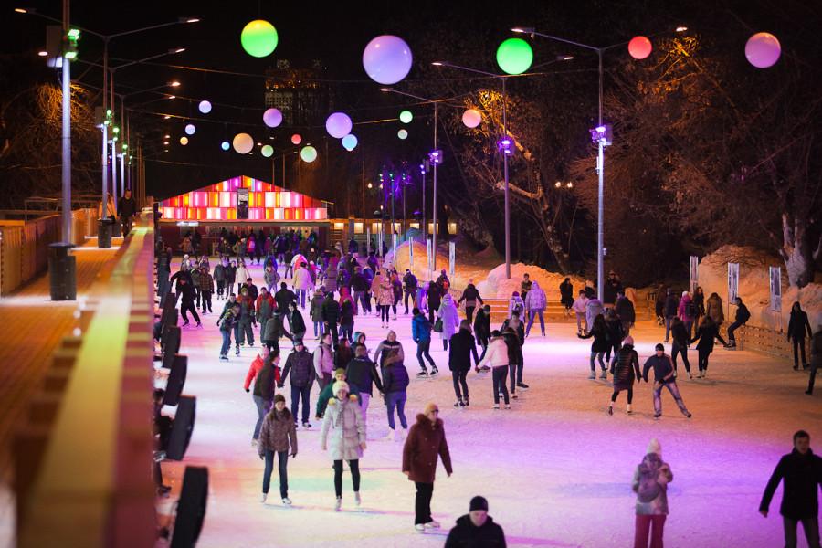 Каток в парке Горького - самый большой в Европе