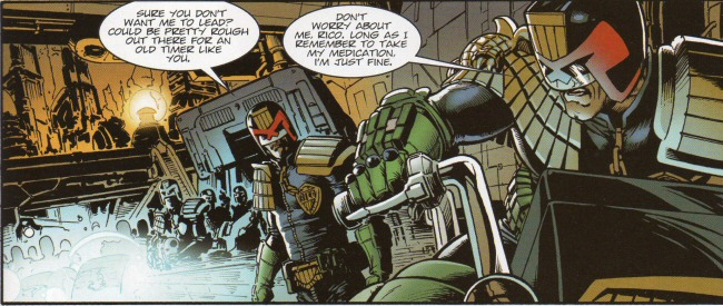 Rico teasing Dredd about his age