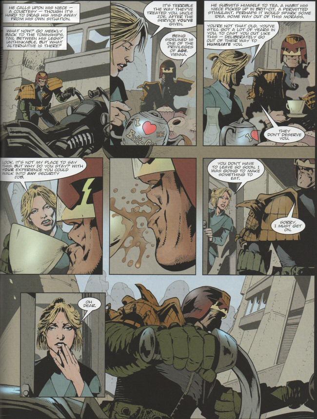 Vienna causes Dredd to do a spit-take