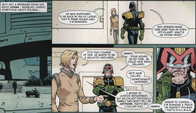 Vienna asks Dredd to check on Dolman