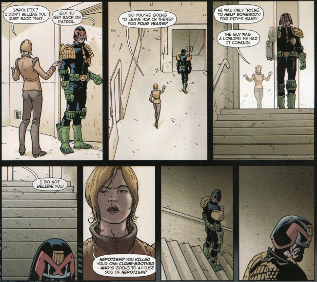 Vienna points out how little reason there is to accuse Dredd of nepotism