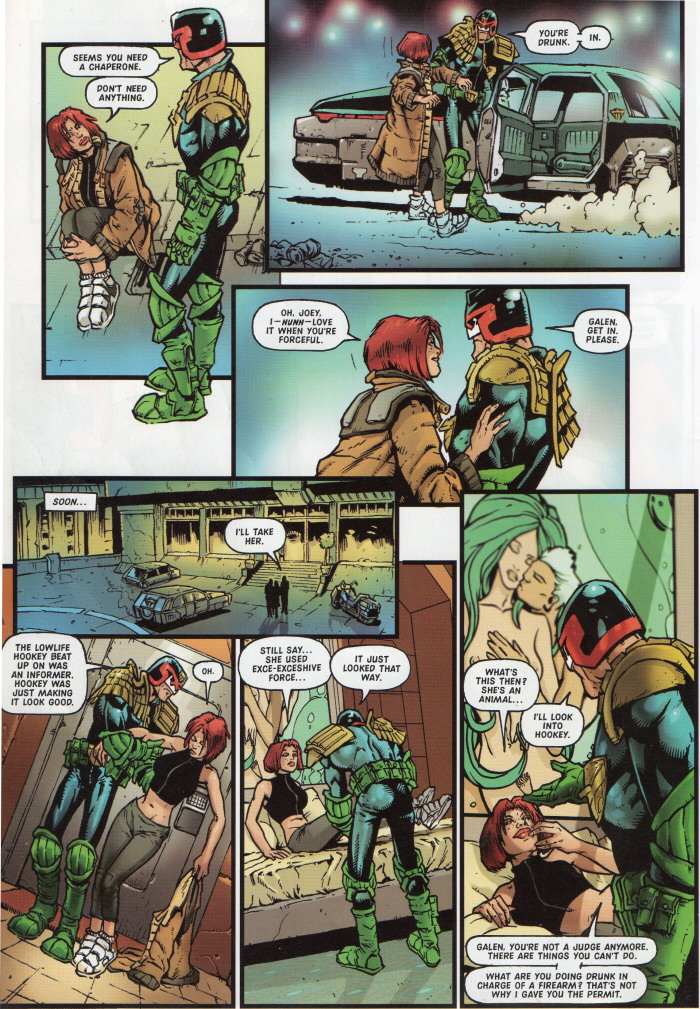 Dredd escorts DeMarco home