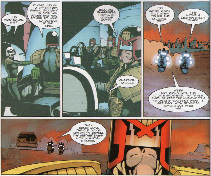 Dredd speaks to Beeny about their mission