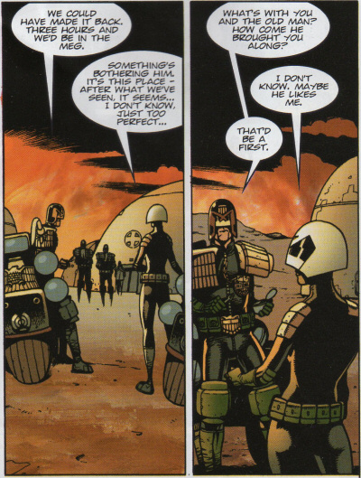 Beeny and Glasswell ponder why Dredd brought her