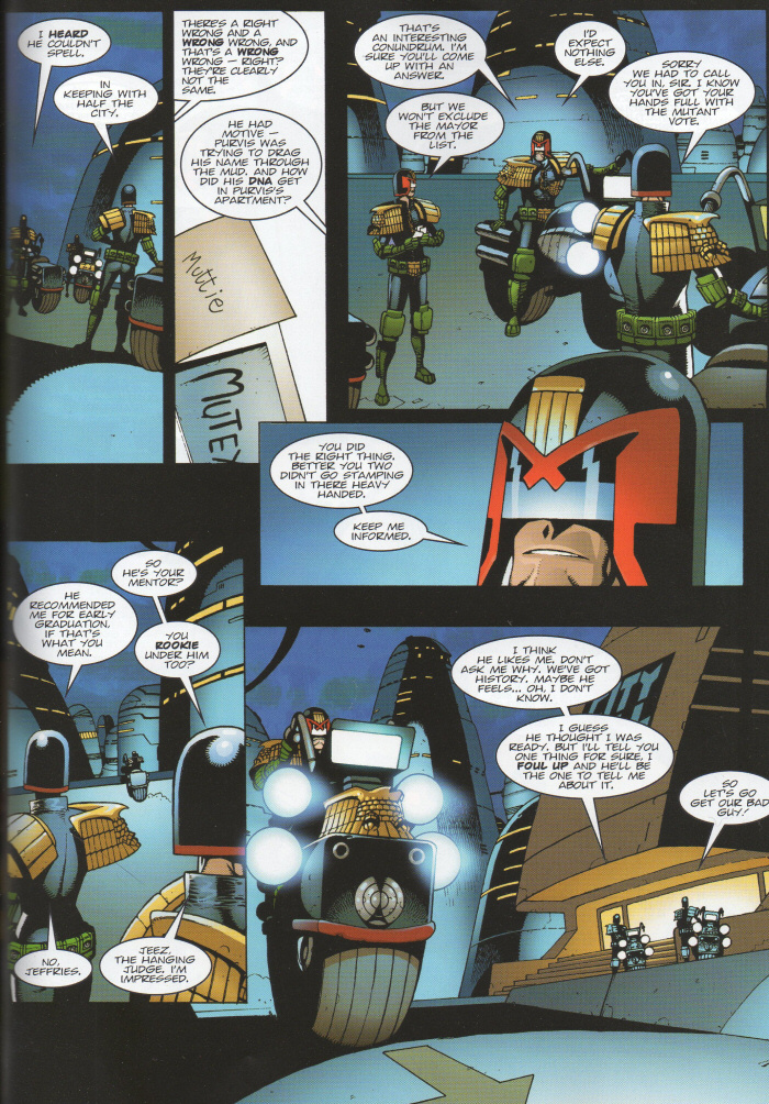 Dredd speaks to Beeny and Roake