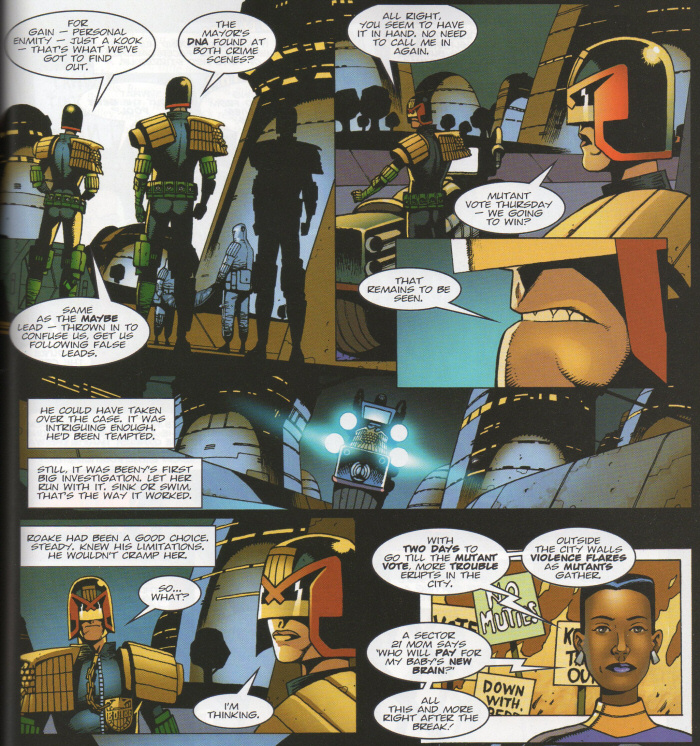 Dredd leaves Beeny and Roake to it