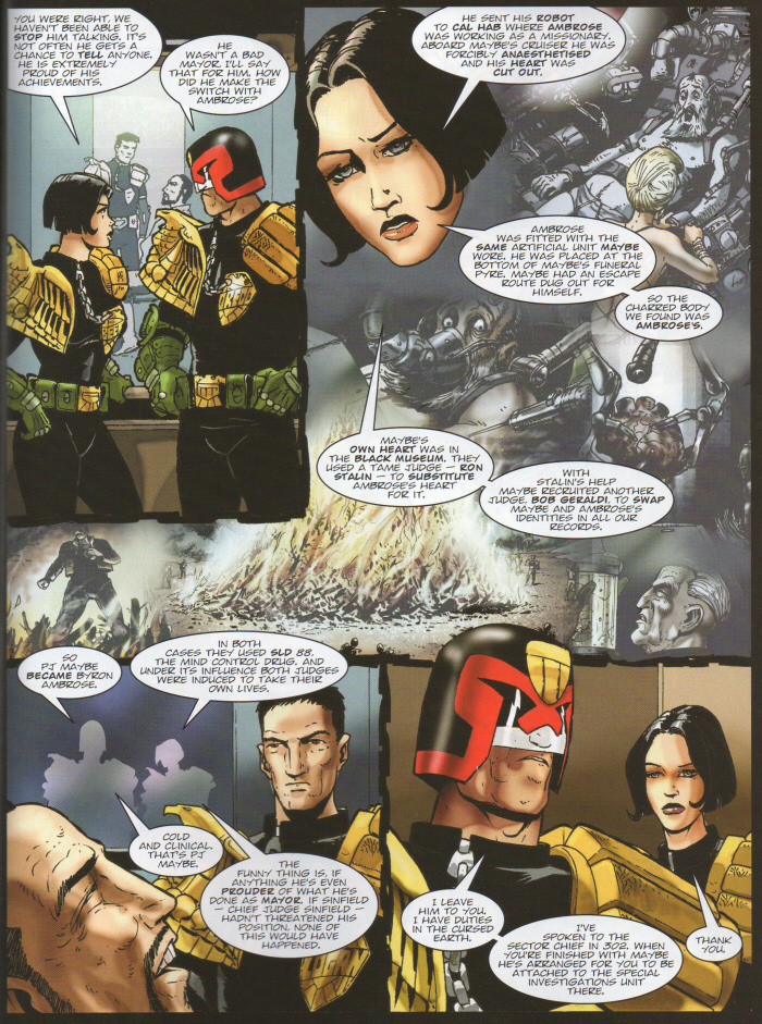 Beeny tells Dredd what they've learned from Maybe