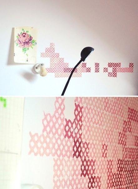 вышивка на стене DIY