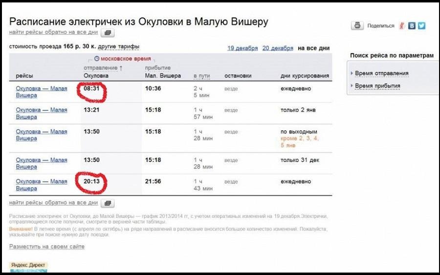 Расписание поездов Малая Вишера Тутуру