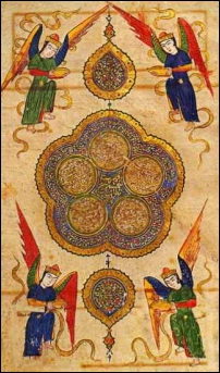 Angels on cover of Persian poetry book