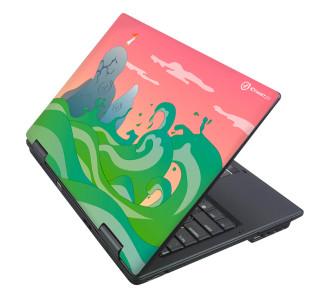 Ноутбук с наклейкой