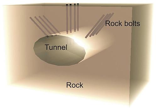 Туннель в горной породе, с использованием анкерных крепей.