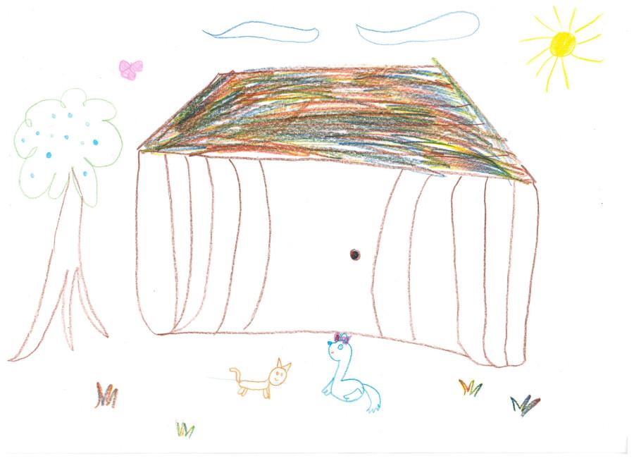 Аня мечтает о даче,где бы жили кошка,собака и другие животные 001