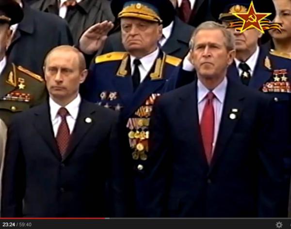 Путин и Буш на парадеПобеды