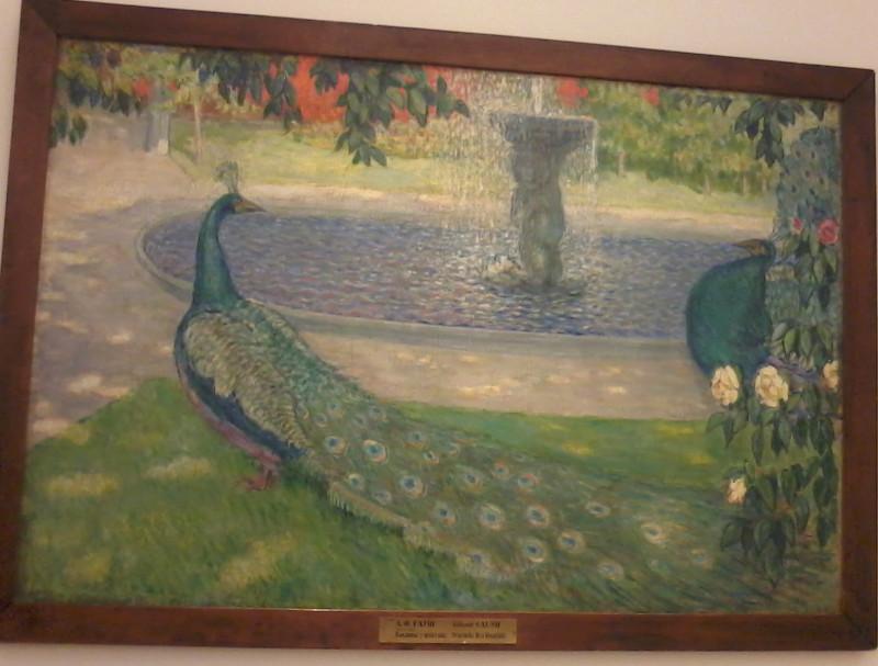 Гауш Павлины у фонтана