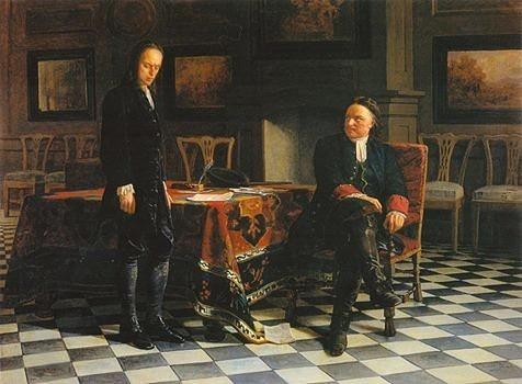 Царский портрет Петр допрашивает Алексея в Петергофе Ге
