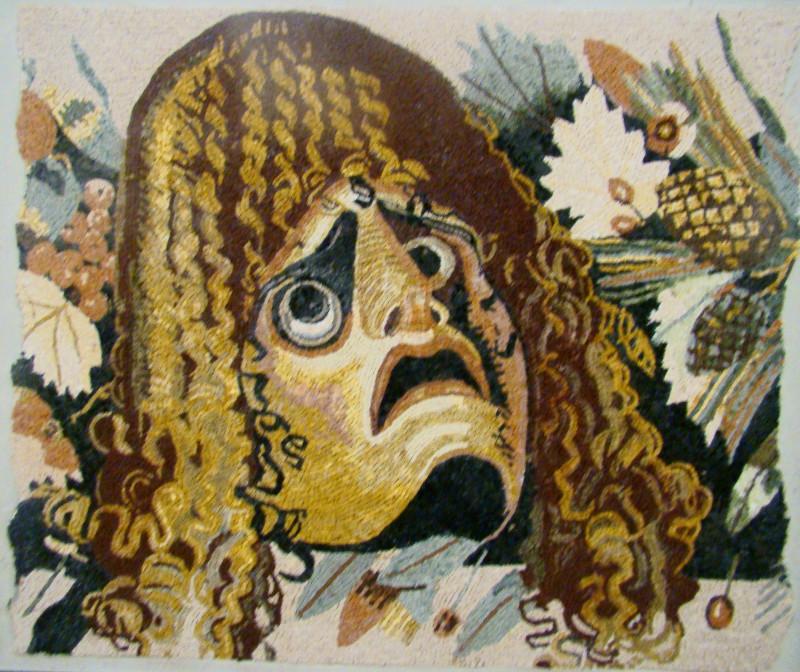 """Т. Фололеева """"Трагическая маска с листьями и фруктами"""" копия из Дома Фавна Помпеи"""