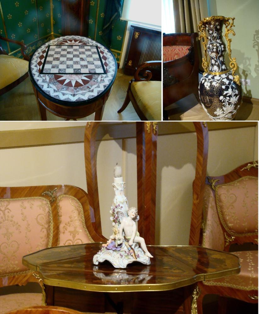 """Щахматный столик из кабинета Александра I, напольная ваза из кабинета стиля """"жакоб"""", подствечник из дамского кабинета стиля """"второе рококо"""""""
