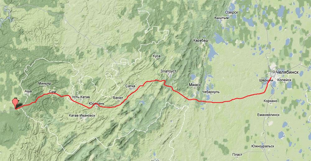 Где находится гора уральские горы на карте