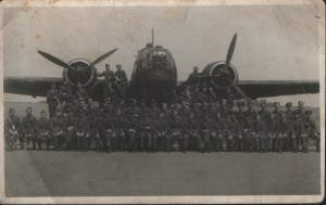 Airmen of 304 Polish BS with one of bomber planes.
