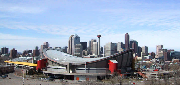 Saddledome and downtown Calgary from Scotsman's Hill