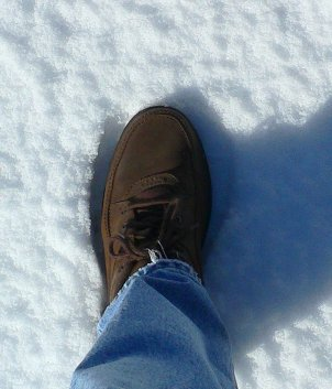 my foot in the snow