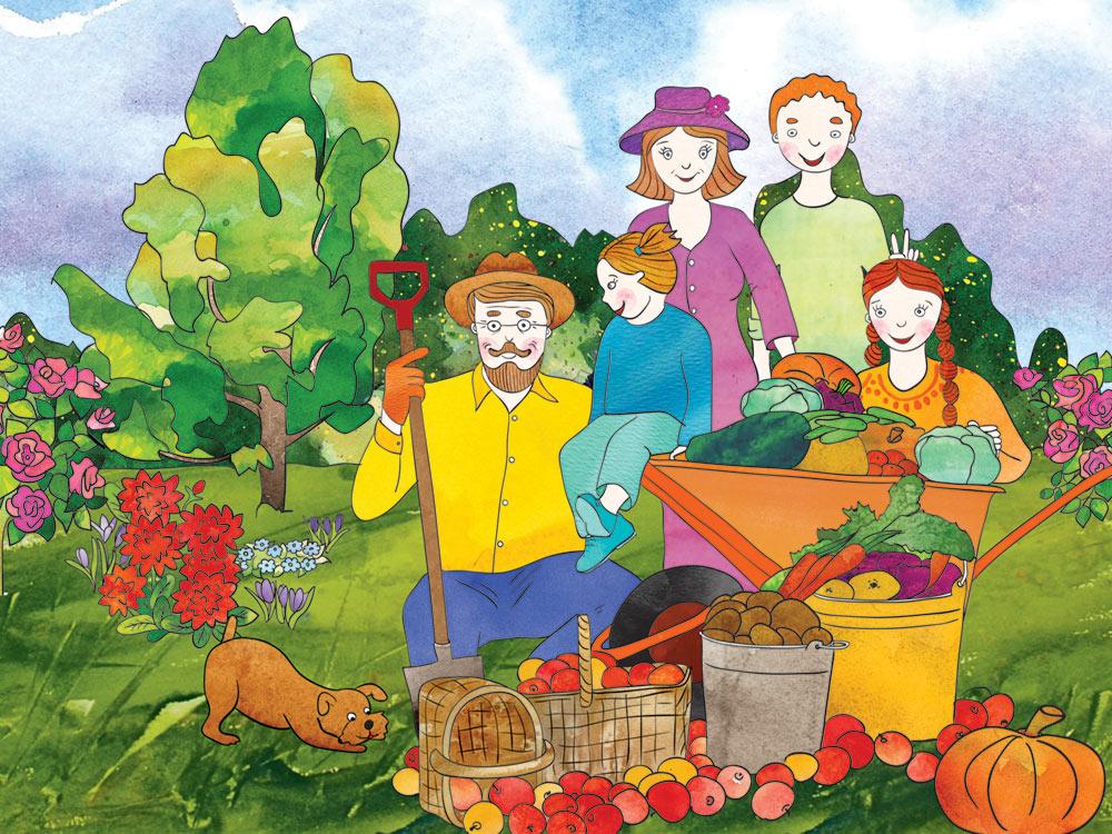 Нарисовать рисунок совместная работа осенью в саду и огороде