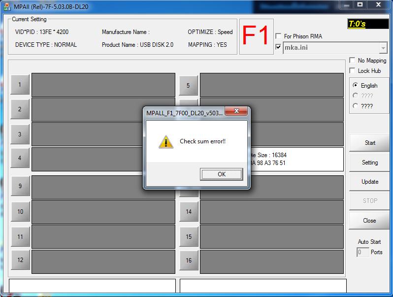 phison Проблемы с mpall f f dl v a На что меня не  Прыгаем в конец файл контрольная сумма располагается именно там Сообщение об ошибке будет одинаковым если сумма неверная или её нет вообще