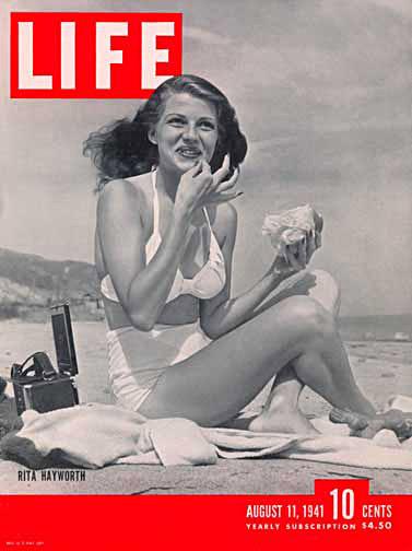 Рита Хэйворт на обложке журнала Life (август 1941). Дамочка из истории выглядела примерно так же