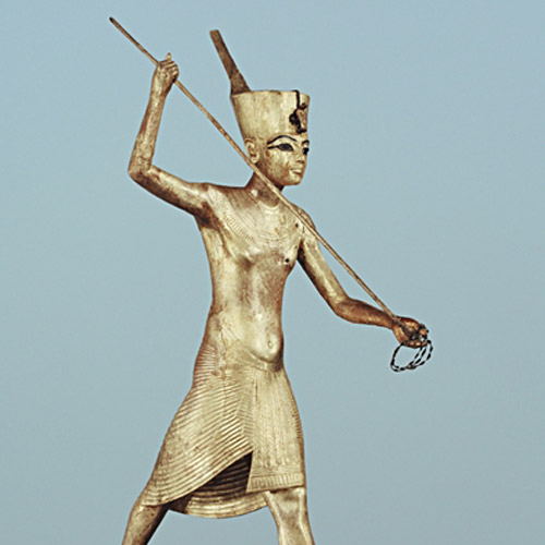 Тутанхамон на лодке. Деревянная скульптура