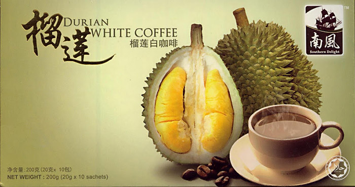 Этикетка напитка Durian White Coffee