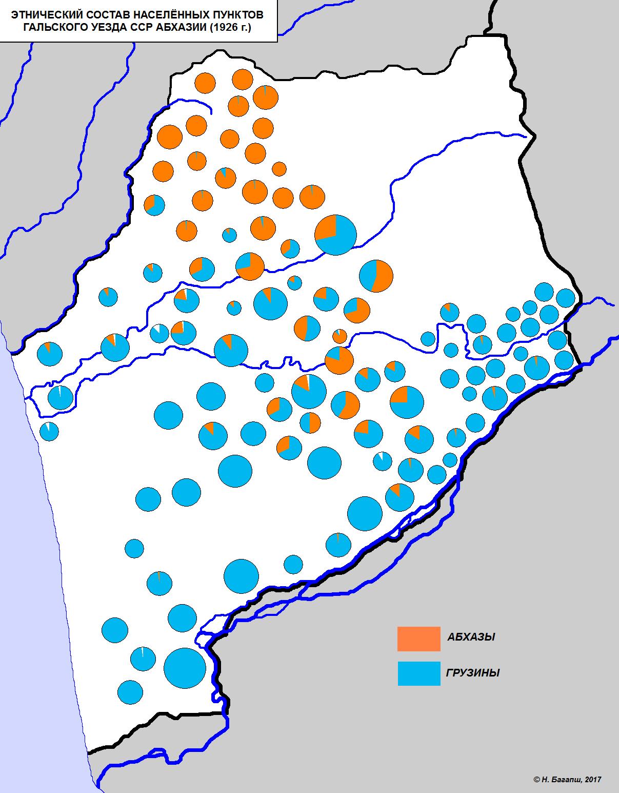 Карта: этносостав населённых пунктов Гальского уезда (1926 г.)
