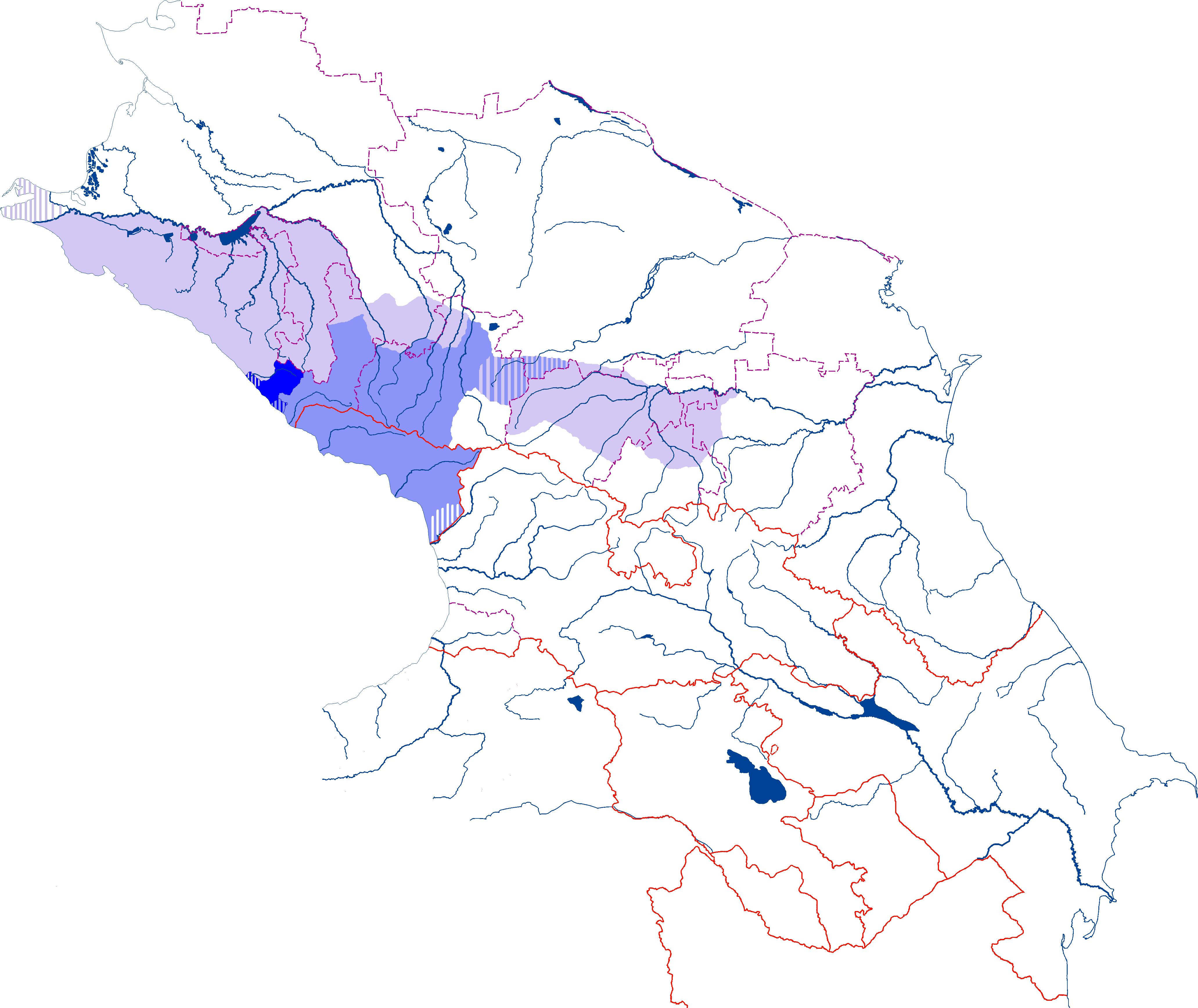 Ареал расселения абхазо-адыгов в начале XIX века