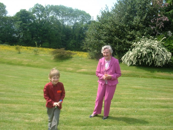 Fergal and Aunt Joan on the lawn