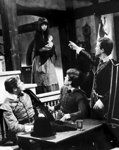 scene with Annete Robertson, Peter Purves and two other actors in a tavern