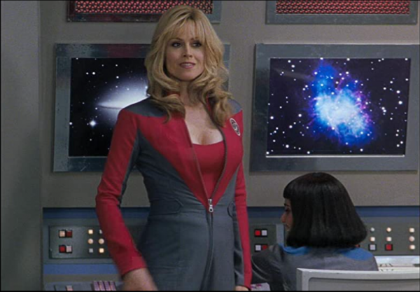 Sigourney Weaver in Galaxt Quest, showing off cleavage