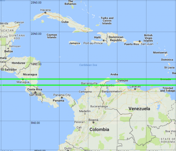 its run of countries by ping through curacao 25 bonaire 26 and grenada 27 the two lines are shown to scale in all three maps below