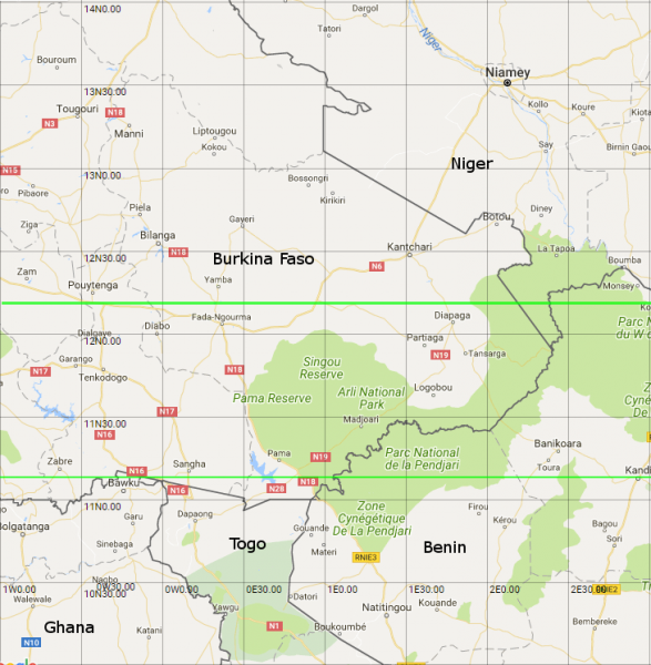 her north the bikar line hits niger 5 before both lines p into benin 7 6 nigeria 8 7 the northern spike of cameroon 9 8 and chad 10 9